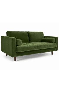 Large 2 Seater Sofa, Grass Cotton Velvet