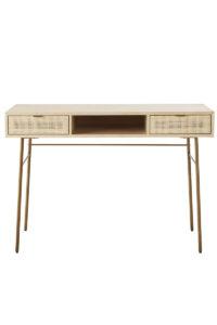 2-Drawer Woven Rattan Desk